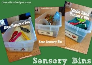 Sensory Bins {one for each sensory material and all equipment stored in the bin!} theautismhelper.com