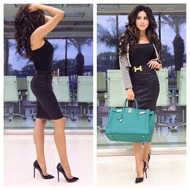 .@Leyla Milani Khoshbin | Today's look: basic black tank, #cusp skirt, hermes belt, @Naked Wardrobe #hou... | Webstagram