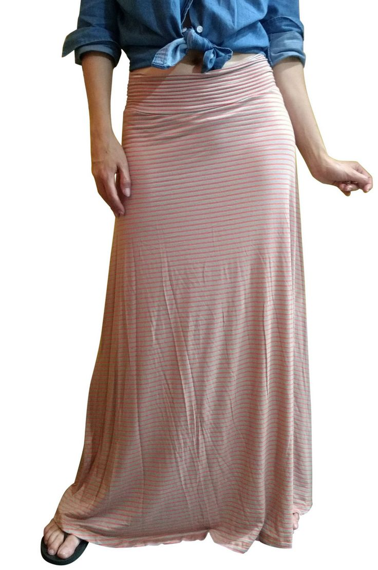 Striped Maxi Skirt in Rayon Tri-Blend! Sophisticated and Classy. Creates Long Visual Lines that Flatter Any Body Type! Peach & Orange Stripes.
