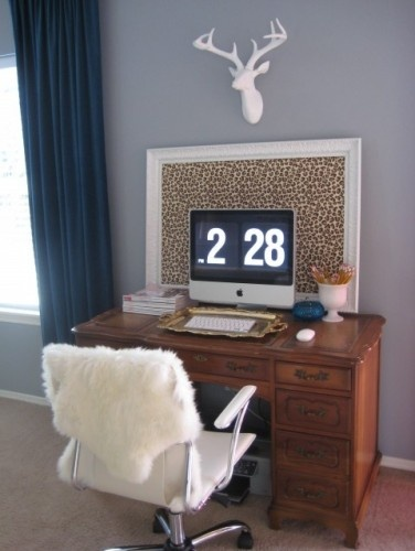 home office ideas: Ideas, Eclectic Home, Offices Spaces, Bulletin Boards, Deer Head, Desks, Leopards Prints, Photo, Home Offices
