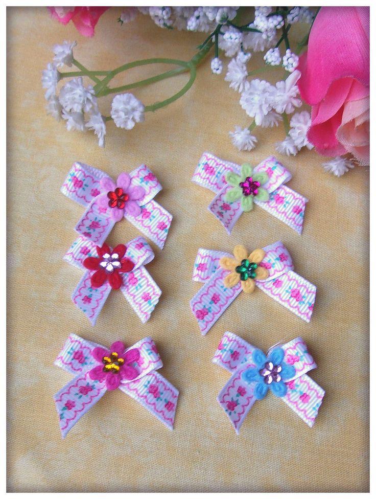 Noeuds en ruban gros grain blanc fleuris fleurs feutrine fleurs strass (6p) : Déco, Customisation Textile par orkan28
