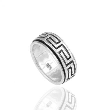 A 925 silver ring with a hand carved pattern the Greek Key or Meander. Symbol of unity and eternity in ancient Greece, this repeated motif appeared on architectural friezes, on pottery artefacts and jewellery. The central solid silver greek design motif spins around its base. Spin it when you're worried or just for the fun of it. Beautiful by itself or as an addition to a stacking ring set for a funkier look. Combine it with greek design sterling silver stud earrings and get ready to shine.