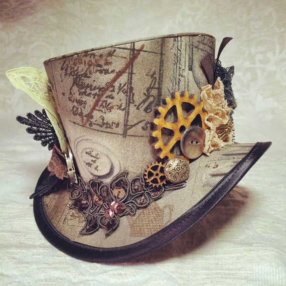 3 top hat Steampunk Tesla Clockwork Victorian by OohLaLaBoudoir - A different view of the $70 one from Etsy