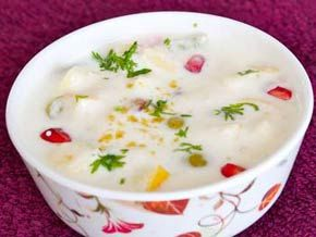 Fruit Raita - Mixed Fruit and Yougurt based Mild Sweet Raita - Serve with Kuttu Ki Puri in Vrat