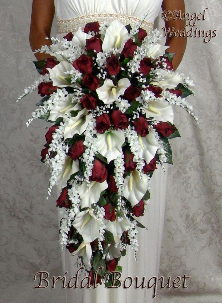ANGIE BURGUND SEIDENBLUMEN Babys Atem Rosen Calla Lilien Efeu Blumensträuße Bogen Satin Stephanotis Perlen, Blumen, Rosebuds, Diamant   – Blumen Rosen
