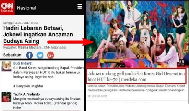 Jokowi Ingatkan Ancaman Budaya Asing Tapi Undang Girlband KOREA? Netizen: Maksud Asing itu ARAB  Republik.inPresiden Joko Widodo hadir dalam penutupan Festival Lebaran Betawi di Perkampungan Budaya Betawi Setu Babakan Jakarta Minggu (29/7/2017). Dalam sambutannya Jokowi menyebut bahwa ajang semacam ini penting untuk menjaga kelestarian adat dan seni di tengah-tengah terpaan budaya asing seperti diberitakan CNNindonesia.com Tapi di sisi lain pemerintahan Jokowi melalui Badan Ekonomi Kreatif…