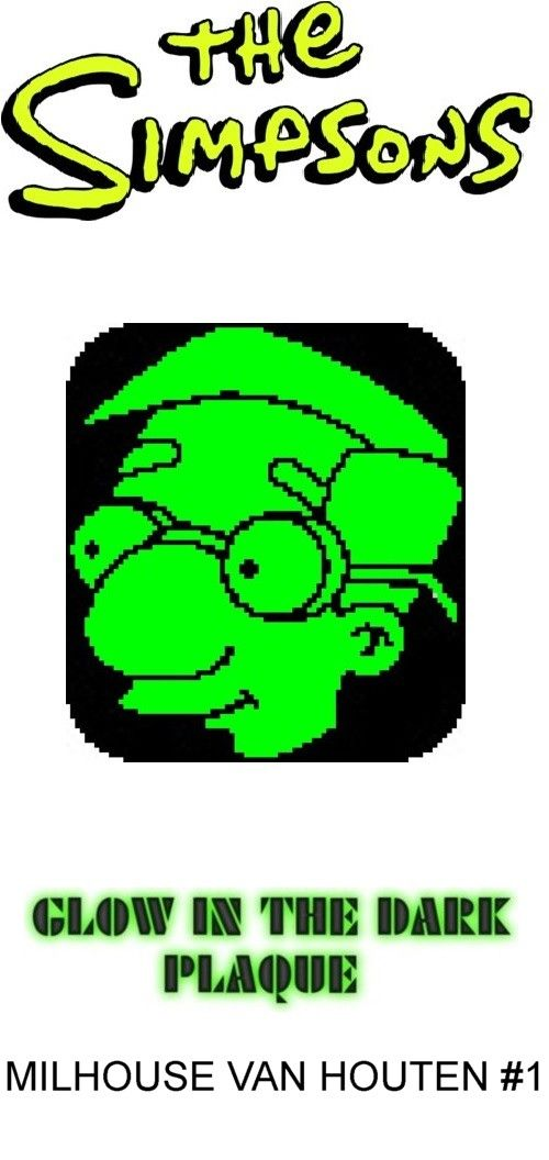 Milhouse Van Houten #1 Glow in Dark Window Plaque plastic canvas catalog item by Michael Kramer