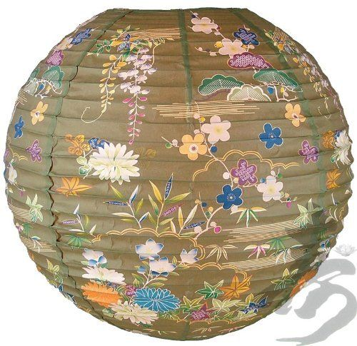 """14"""" Tan Origami Floral Paper Lanterns - (6 Pack) by Asian Import Store, Inc.. $15.00. Dimensions: 14"""" dia. (All lanterns sold without lighting, lighting options must be purchased separately). Round paper lantern with a Japanese Floral print and is held open with a wire expander.. Round paper lantern with a Japanese Floral print. Paper lantern is held open with a wire expander.  Dimensions: 14"""" dia  (All lanterns sold without lighting, lighting options must be p..."""