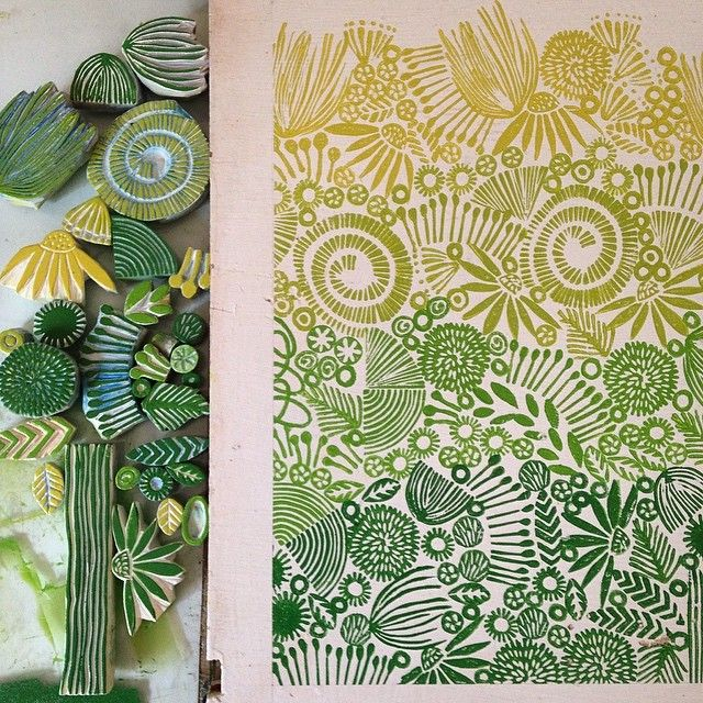 Yesterday's stamping onto reclaimed wood...shades of green. #stamps #stamping…