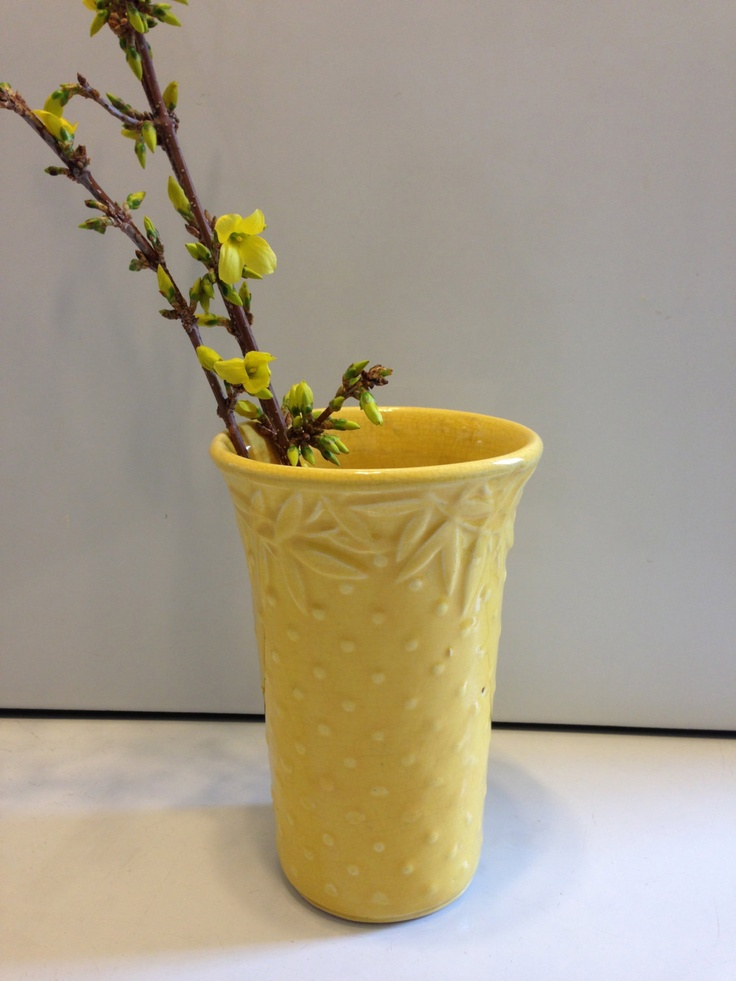 Vintage Yellow Nelson McCoy Pottery Vase with by TwoTwinsVintage