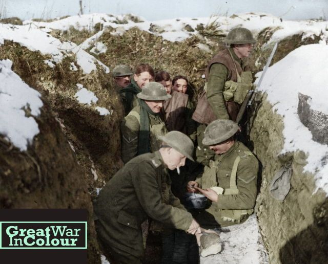 British troops get some grub on the front lines.