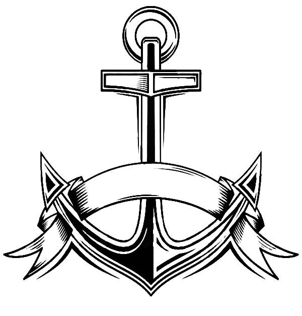 Anchor with heart page coloring pages for Anchor coloring page