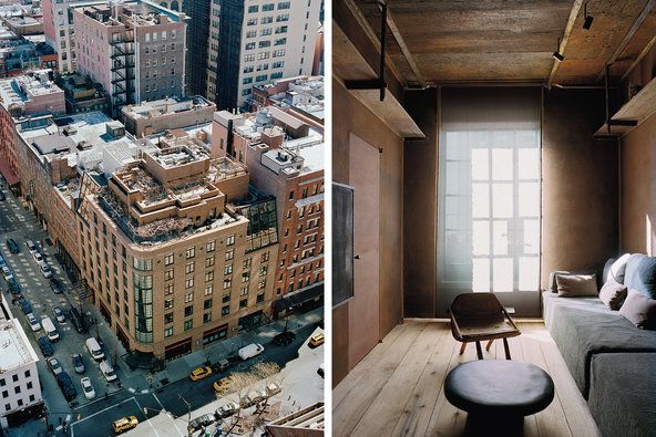 Greenwich Hotel--Axel Vervoordt--From left: an exterior view of the penthouse atop the hotel, with its 4,000 square feet of outdoor space; the pillow-covered banquette acts ...