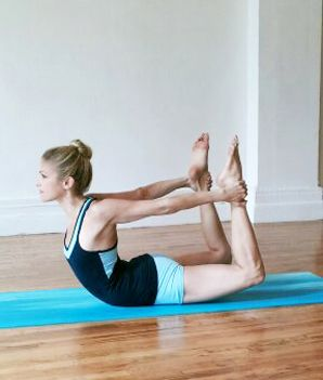 "Yoga poses to help you open your shoulders, reverse ""desk hunch back,"" lengthen your spine and flatten your belly."