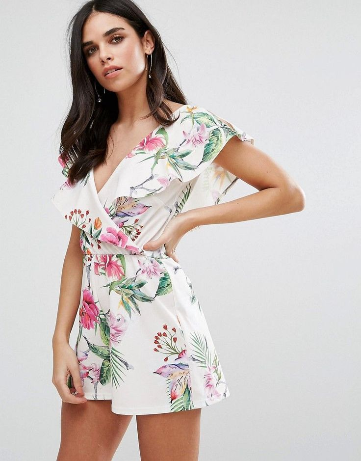 Oh My Love Wrap Frill Romper In Floral Print - White