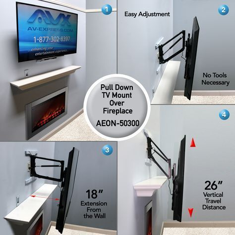 "Pull Down TV Mount for Fireplace - Full Motion - Aeon 50300. For TV's weighing between 10-60 lbs. Pull down technology for easy vertical adjustment, provides 26 inches of vertical travel, extends 18.5"" away from the wall. For TVs between 50-65"", but will fit TVs smaller than 50 inches and up to 70"". (Note mount will be visible behind TV for TVs smaller than 50 inches)."