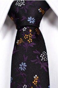 Smalle slips - Sort med paisleymønster i hvid, orange, blå og lilla - 229 dkk