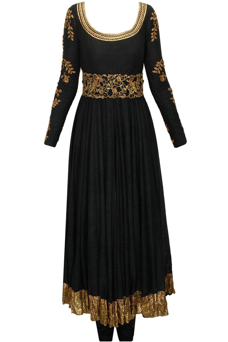 Black zardozi anarkali set with cutwork belt available only at Pernia's Pop-Up Shop.