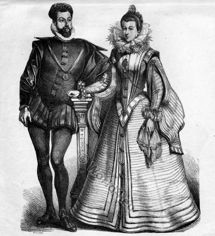 Spanish Court Costumes in 1550.