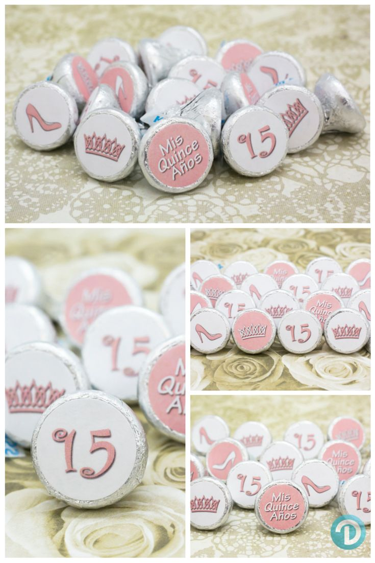 Create your own Quinceanera party favors.  Simply peel and stick our Soft Pink stickers on Hershey Kisses, cards, and other small candies. Features 6 great designs to match any theme. #quince