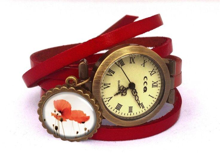 Leather watch bracelet - Poppies, 0165WR6 from EgginEgg by DaWanda.com
