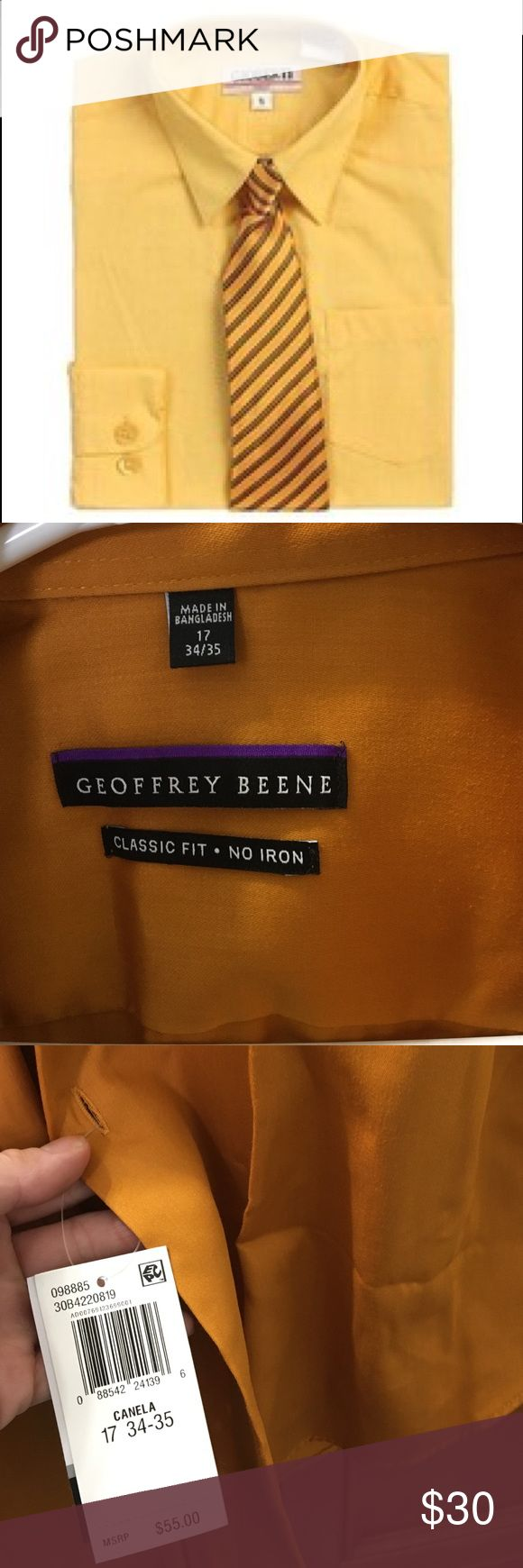 Mustard color dress shirt NWT, size 17, 34/35 perfect condition Geoffrey Beene Shirts Dress Shirts