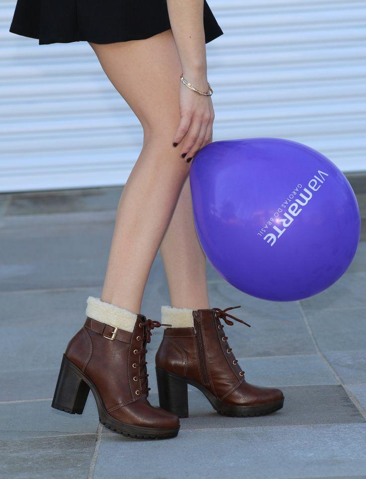 botas de cano curto - coturno de salto alto - winter heels - marrom - boots…