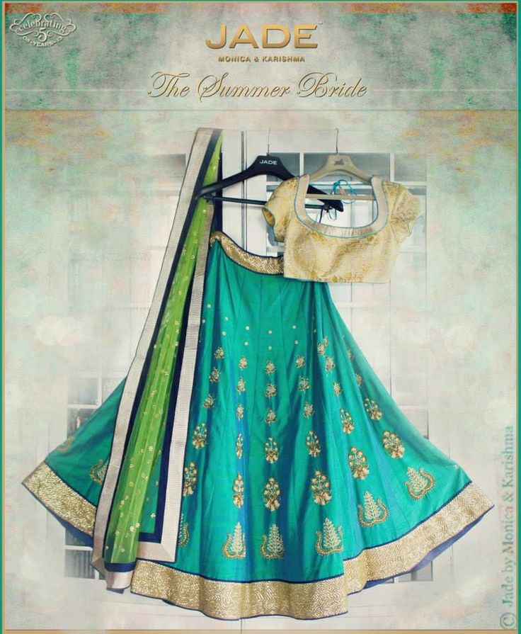 "Summer brides from ""Jade by Monica and Karishma""..perfect for a summer sangeet! #jade #indianbrides #weddings"