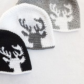 Dylan Deer Silhouette Hat, tapestry crochet hat with right and left handed versions by Lakeside Loops for sale on Ravelry