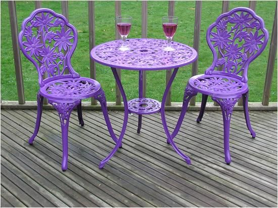 Gloss Purple Cast Aluminium Garden Furniture Bistro Set Round 60cm table 3pc