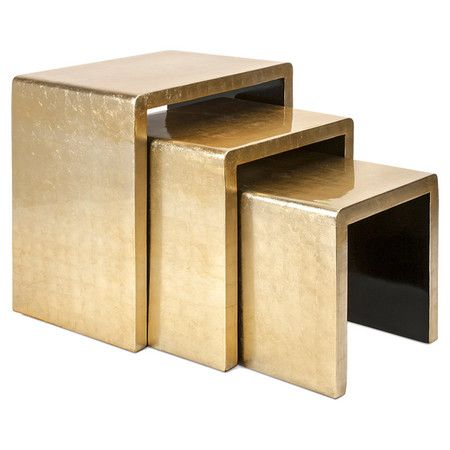 Set one of these nesting tables beside your bed for a statement-making nightstand, or arrange all three in front of the sofa for a layered coffee table.