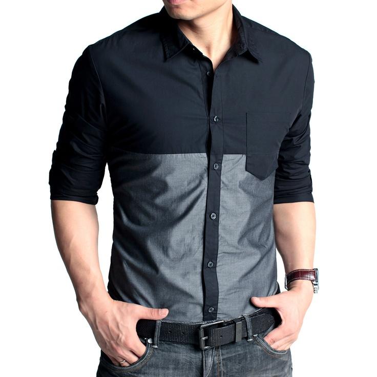 Kuegou Korean Style Color Block Shirt Code: 20120231 - Men's Shirts - Men's Clothing at Clothing.net