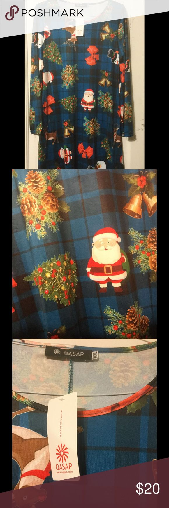 OASAP Christmas Tunic XXL NWT - OASAP Christmas tunic with Santas, bells, etc. decorating a blue and black background.  Great to wear with leggings or to dress up jeans!! OASAP Tops Tunics