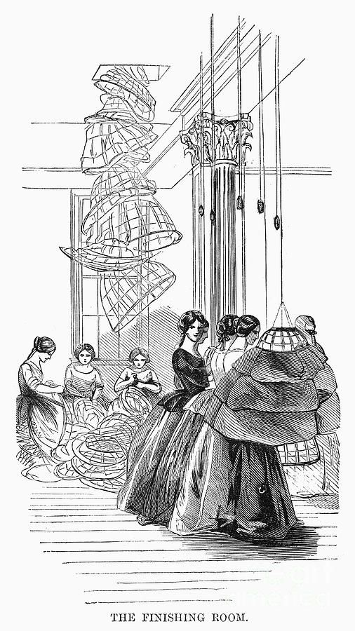 "January 29, 1859, Harper's Weekly. ""The Finishing Room"" of the Douglas & Sherwood crinoline factory in Manhattan. Hoops descend from the floor above for finishing. [jrb]"