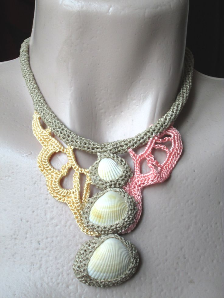 crocheted necklace,necklace with shells,sea necklace,unique necklace by AgathaBee on Etsy