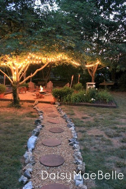 Backyard Firepit @ DaisyMaeBelle Like the idea of putting the fire-space in the back part of the yard and a path-way leading to it.