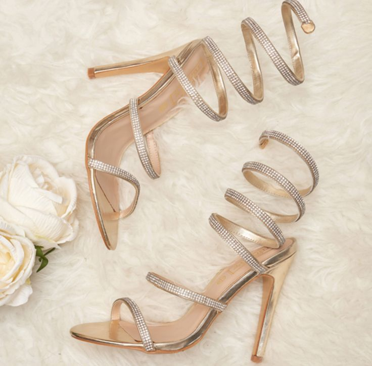 Sparkly strappy gold heels perfect for special occasion shoes from Korky's. Only €34.99 from Korkys.ie #korkys #korkysshoes #fashion #style #heels #shoes #strappyheels #goldheels #goldshoes #promshoes #prom #debs #grad