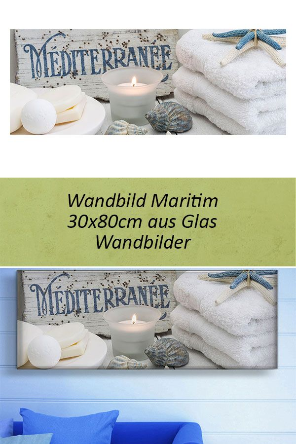levandeo Glasbild 30x80cm Wandbild Glas Maritim Wellness Muschel Seestern Kerze