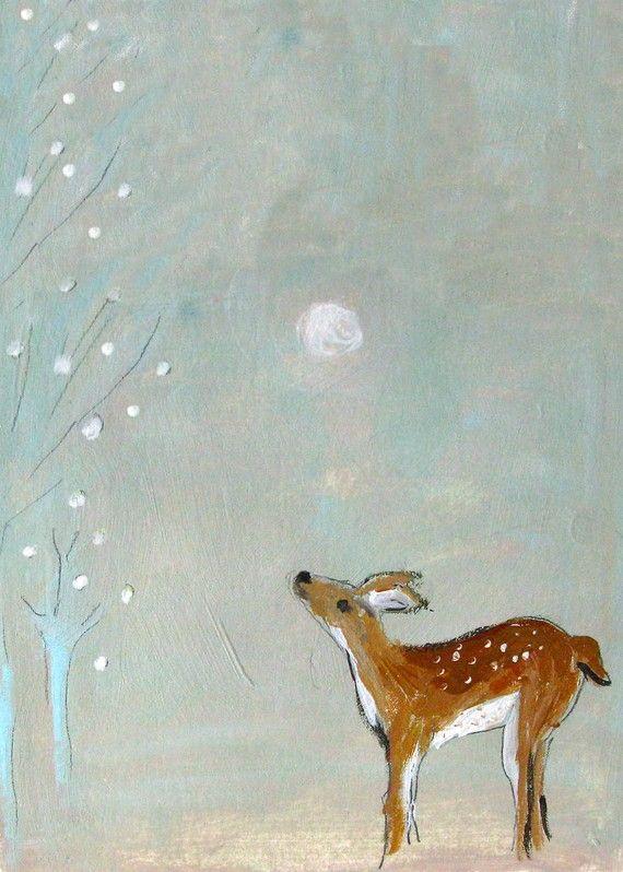 Winter deer painting