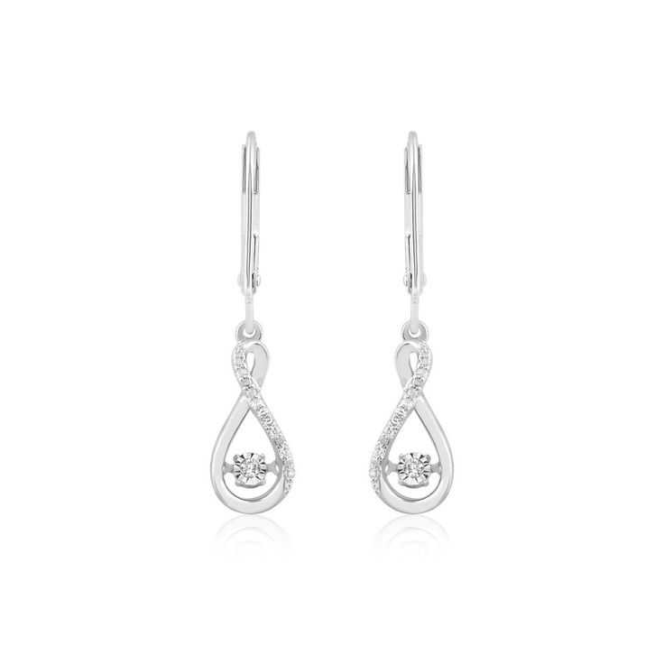 1/10 Carat 925 Solid Sterling Silver Natural Diamonds Drop Earrings For Women #CaratsForYou #DropDangle