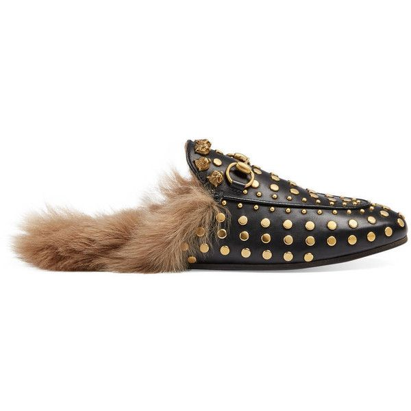 Gucci Princetown Studded Slipper (1,550 CAD) ❤ liked on Polyvore featuring shoes, slippers and black