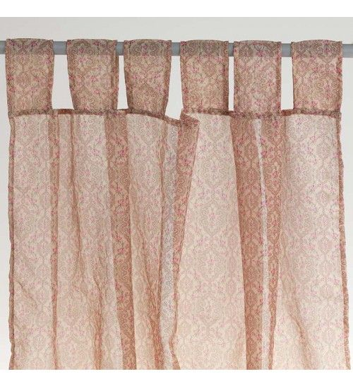 FABRIC CURTAIN WITH PINK FLOWERS 105X250