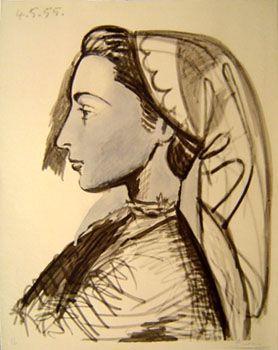 Pablo Picasso - Portrait of Jacqueline, 1955