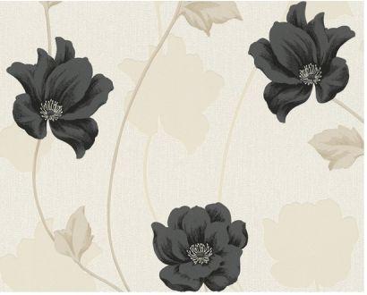 Råhvid tapet med sorte og beige blomster - Køb tapet med sorte og beige blomster www.maler-maling.dk 53 cm, 10,5 meter - 299 kr
