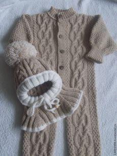 Купить Комбинезон Волны аранов - бежевый, абстрактный, для новорожденного, для новорожденных, одежда для новорожденных, косы, араны