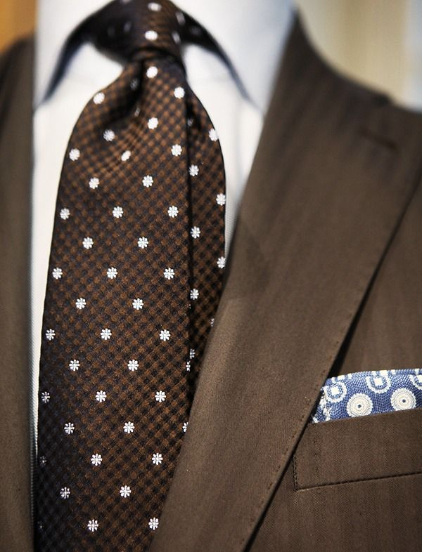 Not a fan of the tie material. But I like the chocolate and blue combo.