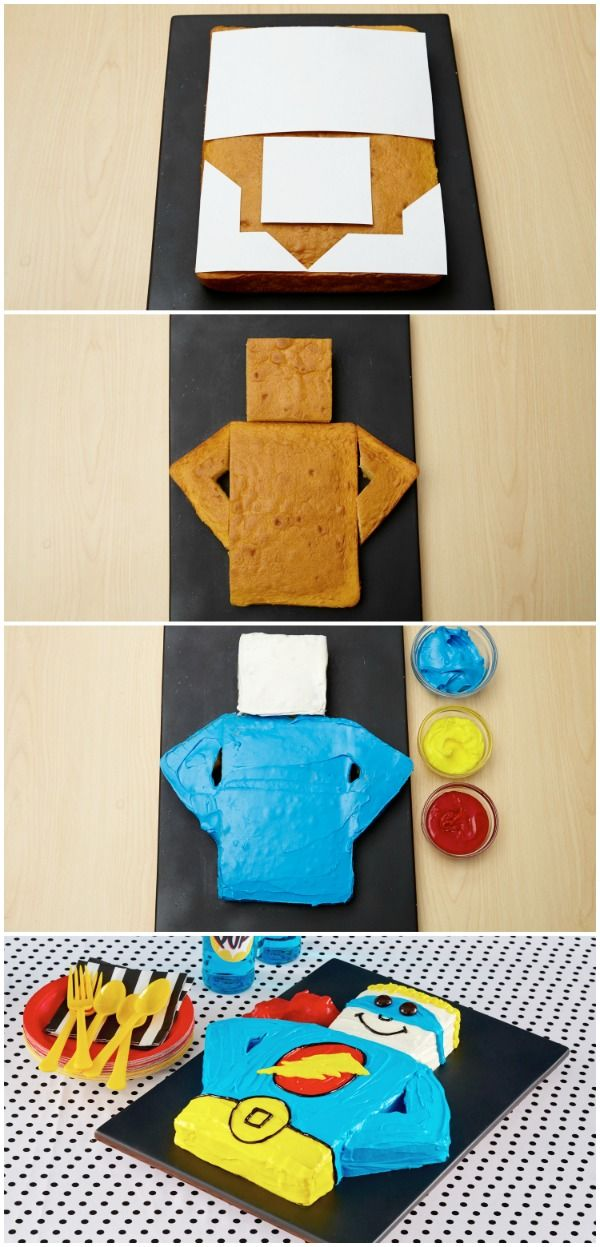 Both a crime-fighter and showstopper, this colorful cake is made with Betty Crocker cake mix, ready-made frosting, and a Fruit Roll-Up cape! Super easy template included!