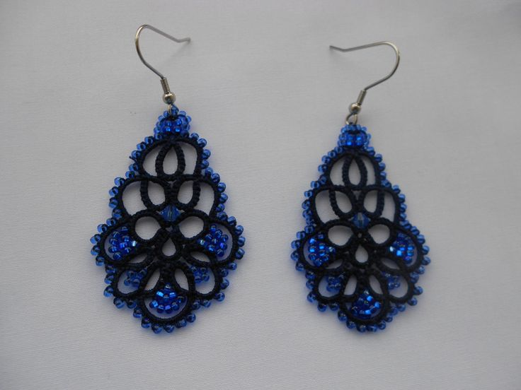 Blue earrings tatted earrings tatting от TattingLaceJewellery