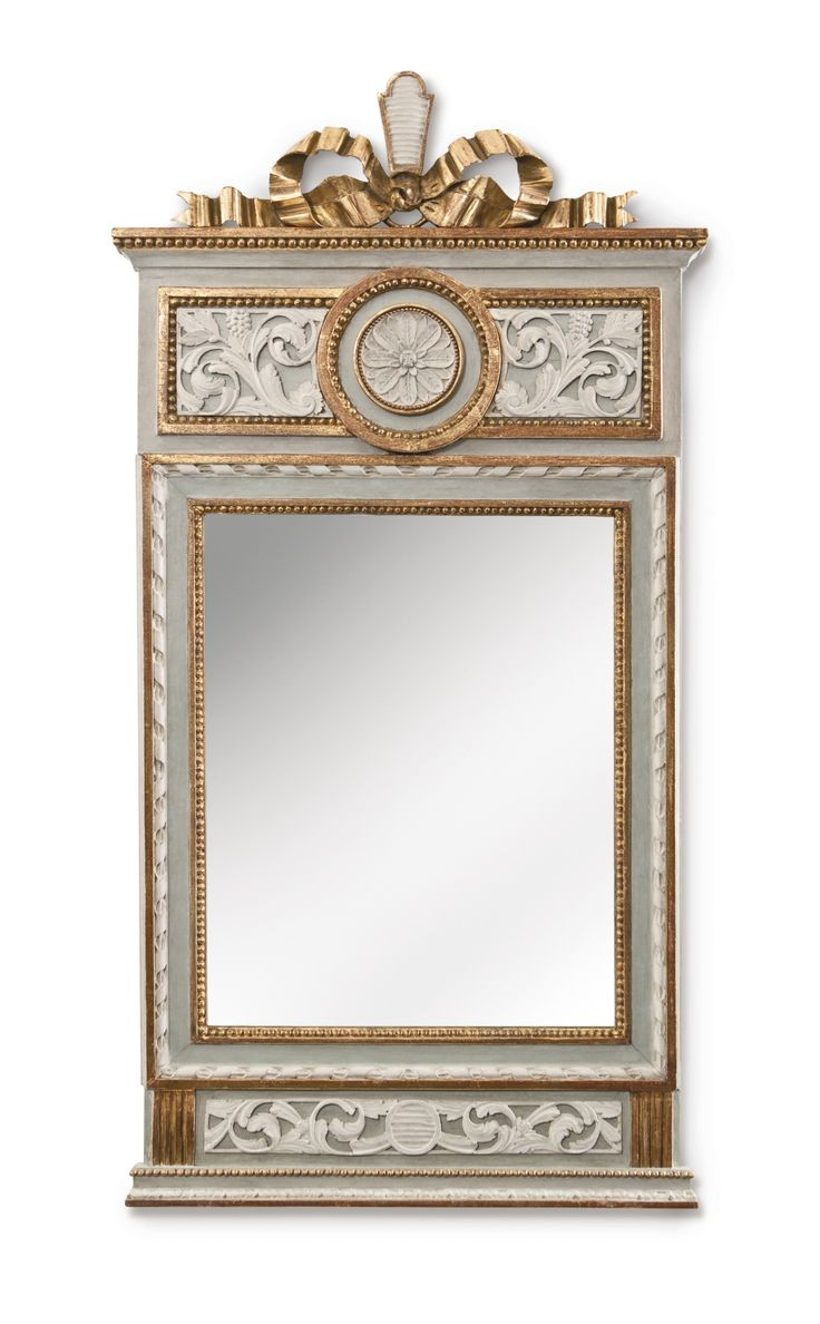 A GUSTAV III SWEDISH NEOCLASSICAL CARVED, PARCEL-GILT AND GRAY-PAINTED MIRROR LATE 18TH CENTURY