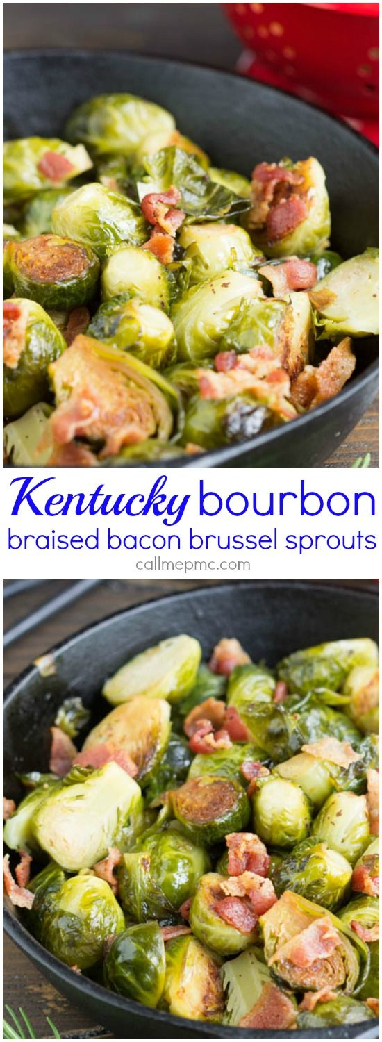 Kentucky Bourbon Braised Bacon Brussel Sprouts have lots of textureand flavor…